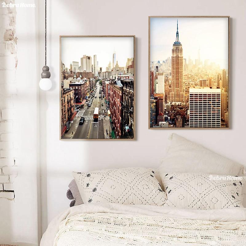 New York sulu boya çap kətan divar rəssamlığı Abstrakt şəhər - Ev dekoru - Fotoqrafiya 2
