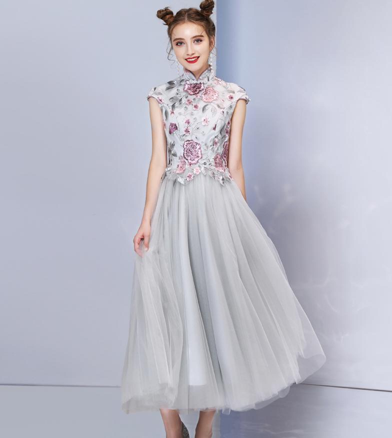 Bébé mère fille robe robe de bal gris princesse élégante femmes filles robe de Cocktail robe de soirée de mariage correspondant vêtements Y933 - 5