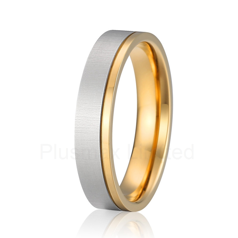 top quality Alliance anel pure titanium wedding band gold color ring men