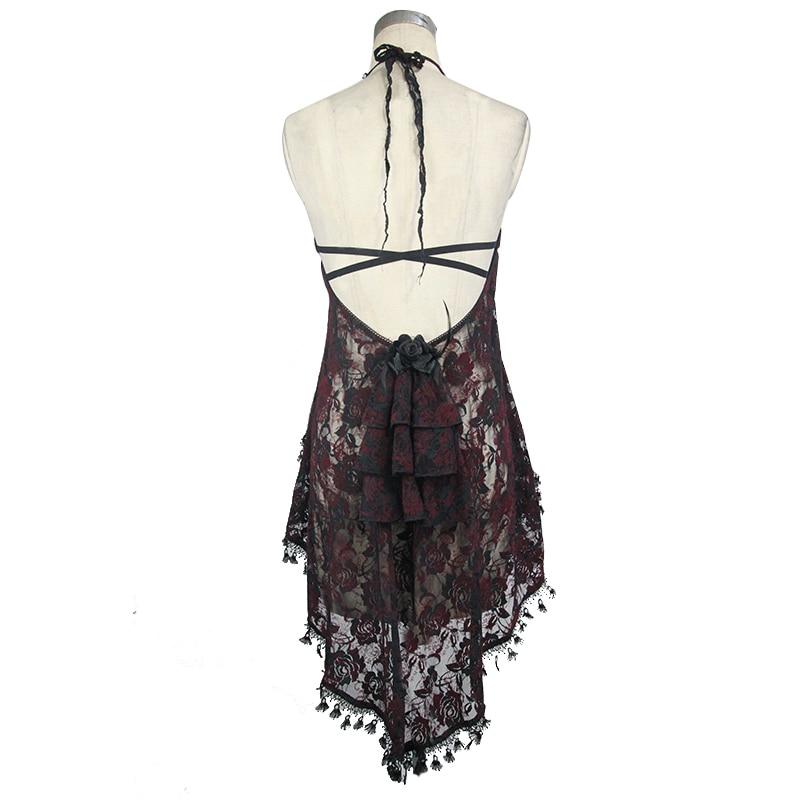 Eva Lady haut sexy pour les femmes gothique voir à travers licou T-shirt noir rouge dentelle gland été nouveaux accessoires tendance - 6