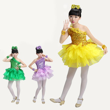 Children's Latin dance costumes girls sequins modern dance performance costumes kindergarten dance clothes dance skirt цена и фото