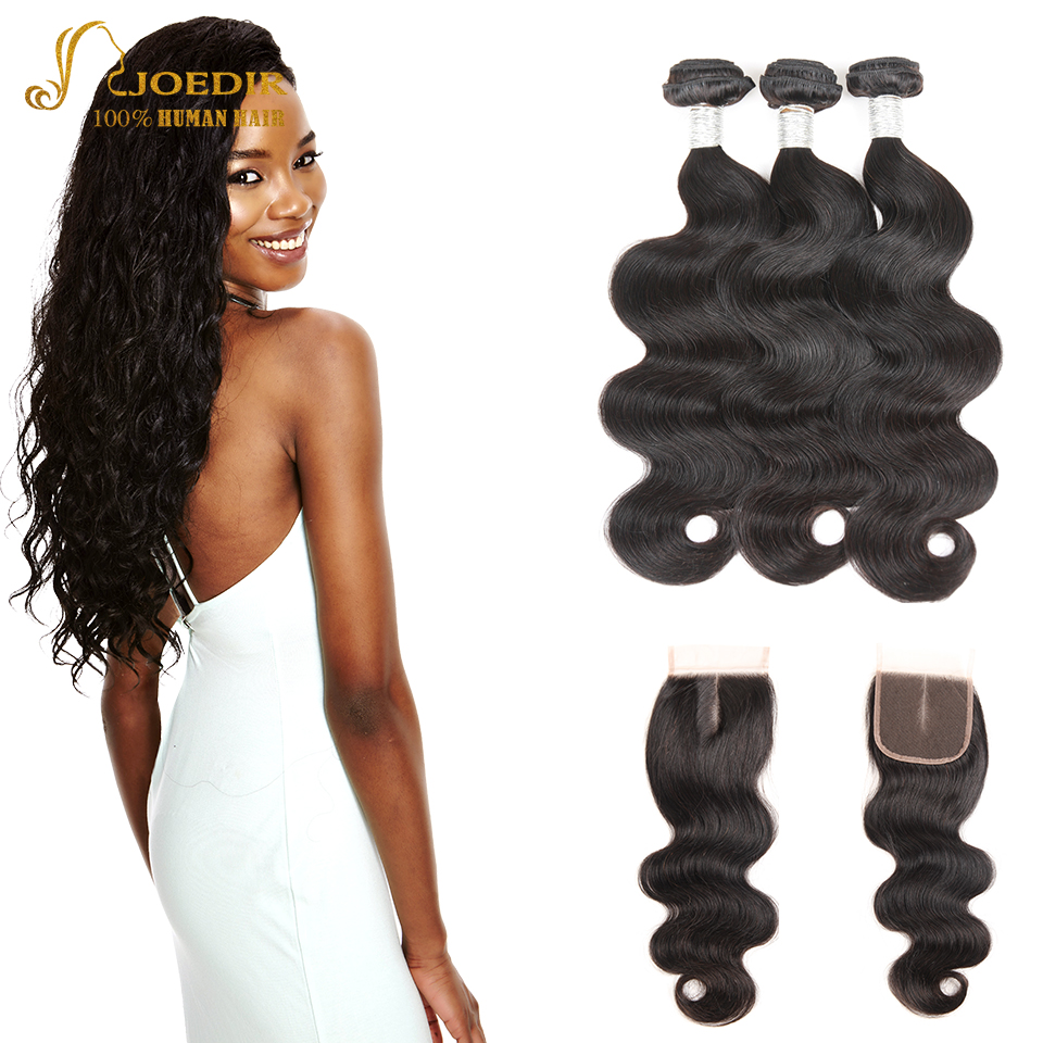 Joedir Peruvian Hair Bundles With Closure 100% Human Hair Weave Body Wave 3 Bundles With Lace Closure Non Remy Hair Extension