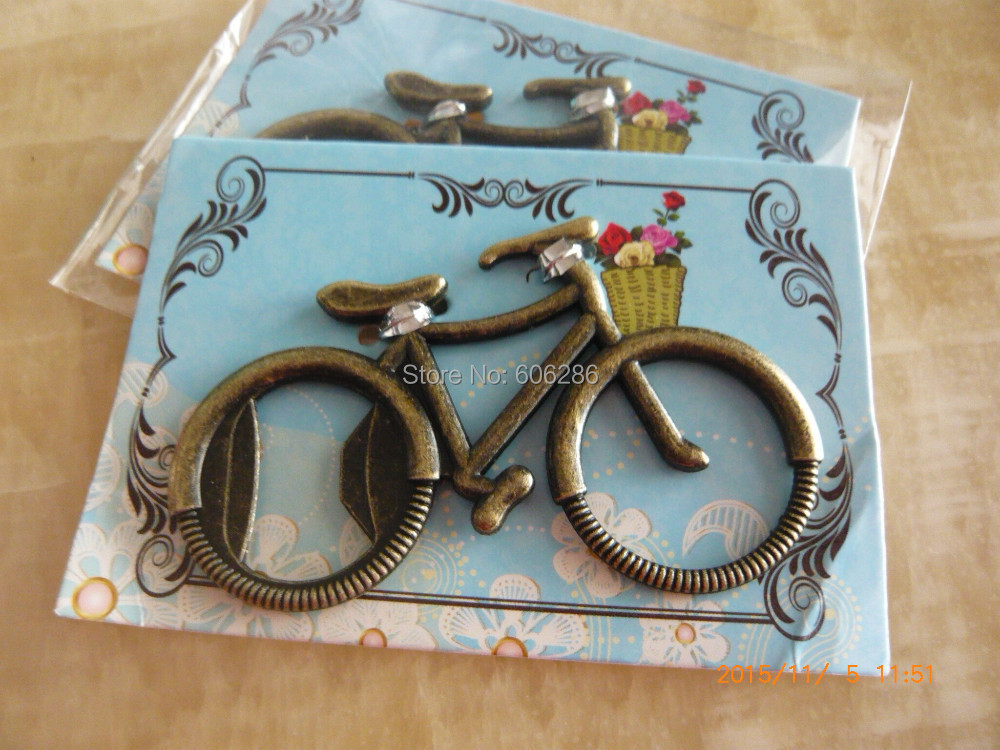 Yiwu Cngifts Party Favors Wholesale 200pcs/LOT Let's Go On an Adventure Bicycle Beer Bottle Opener Wedding Giveaways Souvenirs and Party favors