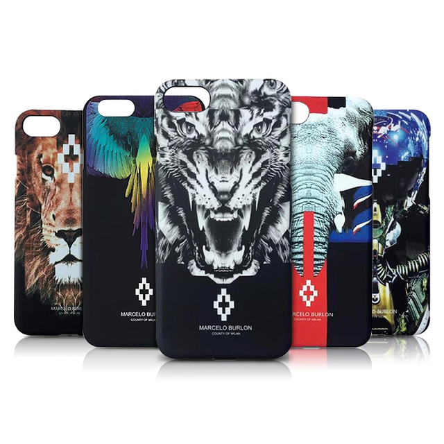 buy online 502fd 52c0b Animal Case for iPhone 7 8 6 Plus Marcelo Burlon Cases Tiger Hard PC Scrub  Cover for iPhone 6 6S 7 8 Plus Marcelo Back Protector