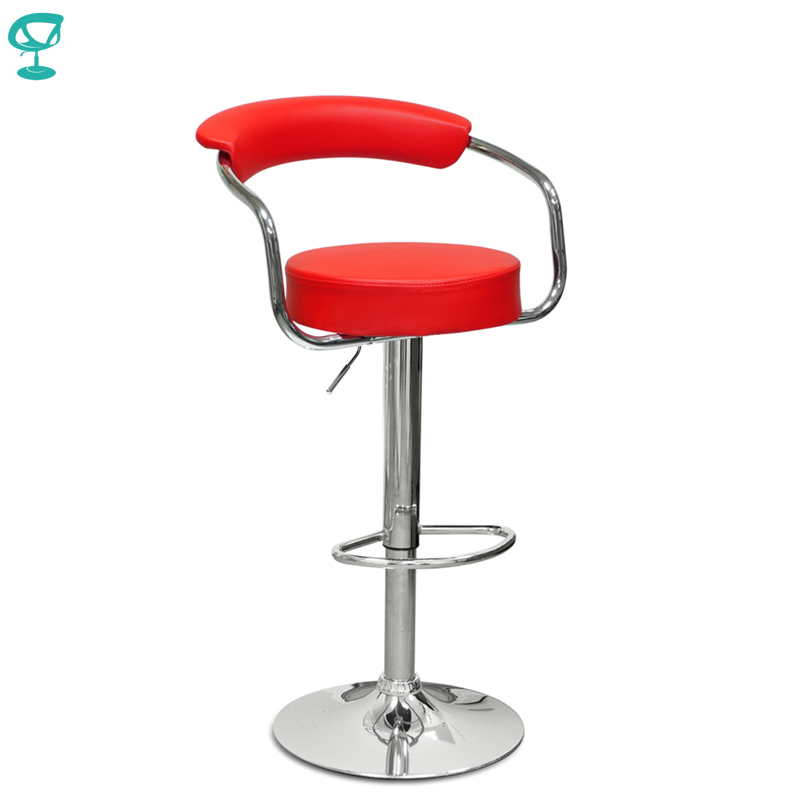 94132 Barneo N-91 Leather Kitchen Breakfast Bar Stool Swivel Bar Chair Red Color Free Shipping In Russia