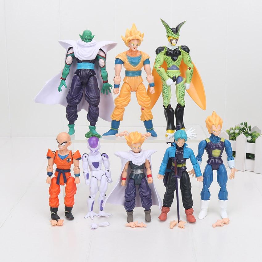 New 8Pcs/lot PVC Dragon Ball Z Joint Movable Vegeta Piccolo Son Gohan Goku Trunks Freeza Doll Action Figure Children Toy