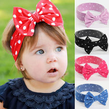 Baby Bowknot Wave Infant Kids Girl Hairband Phtography Props(China)