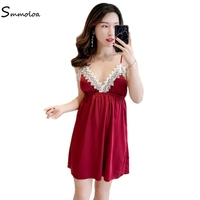Smmoloa Sexy Silk Satin Lace Sleepwear V neck Solid Plus Szie Nighgown Spring Autumn Home Wear