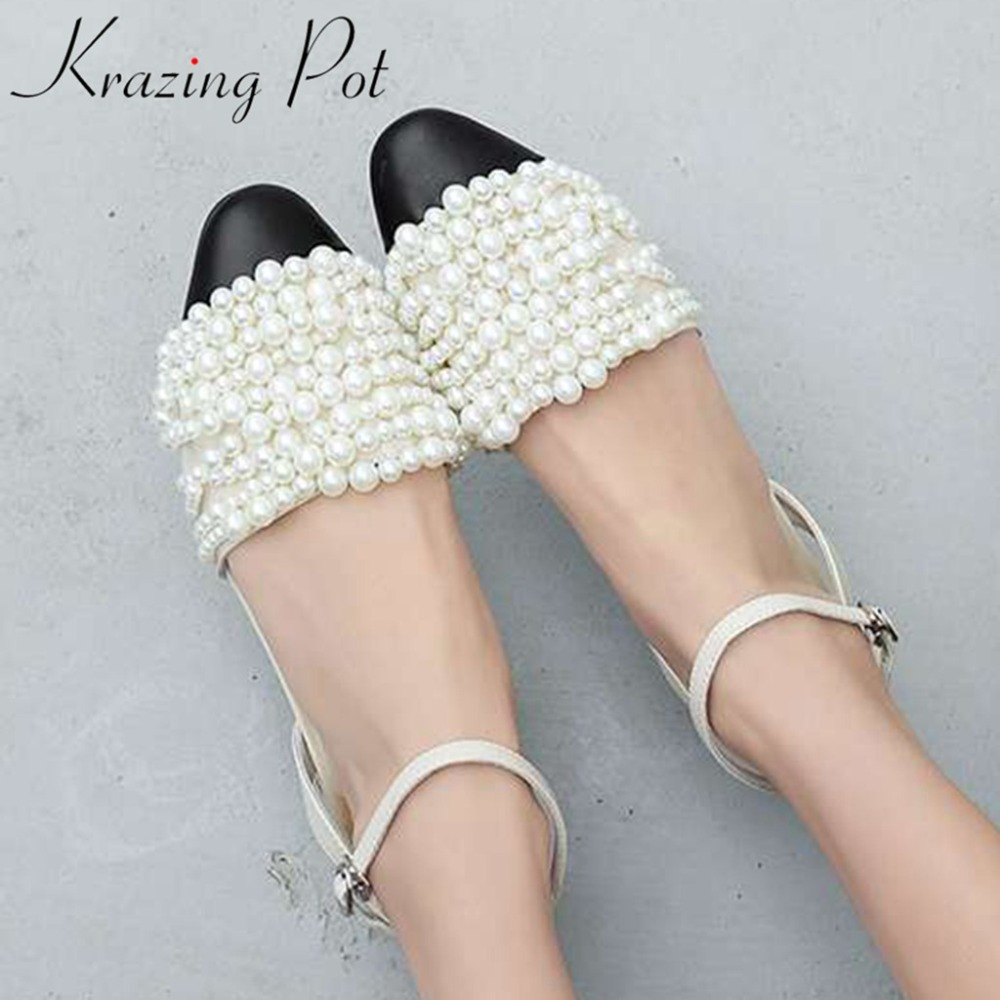 Krazing pot sweet princess style mixed colors pearls decoration low heels genuine leather ankle strap slingback lady sandals L35