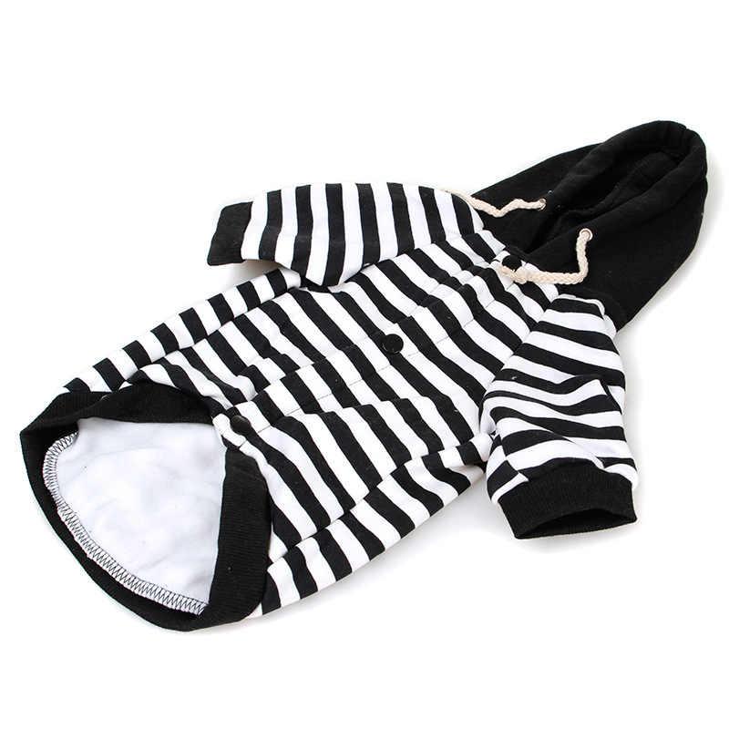 PERTTYLIFE теплый хлопок маленькая собака пальто одежда куртка кошка черно-белое Полосатое платье комбинезон джемперы Толстовка CLT67