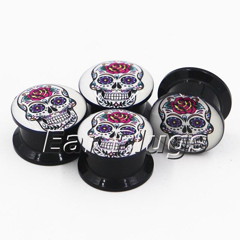 1 pair Mexcian sugar skull plug gauges black acrylic screw fit ear plug flesh tunnel body piercing jewelry