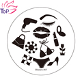 Fashion Girl Kit Image Nail Art Polish Stamping Plates DIY Tips Stainless Steel Templates Stencil Manicure Stamp JH235