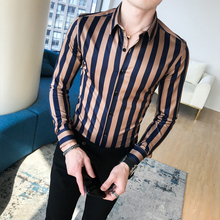 Camisa Masculina Autumn Shirts Men Dress Vertical Stripe Streetwear Slim Men Shirt Casual Long Sleeve Chemise Homme Tuxedo Shirt