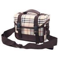 Deluxe DSLR Camera Shoulder Bag Lattice Check Bag Case For Canon DSLR NIKON D800 D7000 D5100