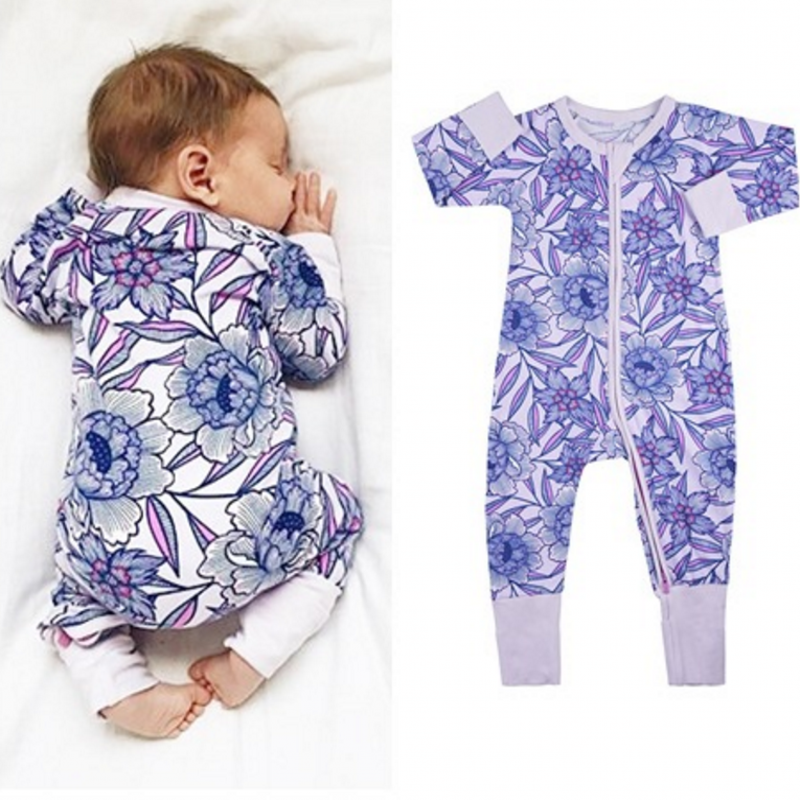 Long Sleeve Big Flowers Baby Rompers Costume Purple One-Piece Cotton Jumpsuit Funny Shirt Infant Newborn Gift Clothes newborn baby rompers baby clothing 100% cotton infant jumpsuit ropa bebe long sleeve girl boys rompers costumes baby romper