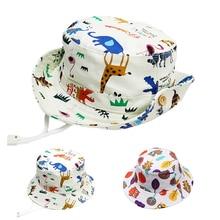 Мягкая летняя детская шляпа от солнца, Панама, зоопарк, принт, милые шляпы для мальчиков и девочек, защита от солнца, пляжная шляпа для малышей
