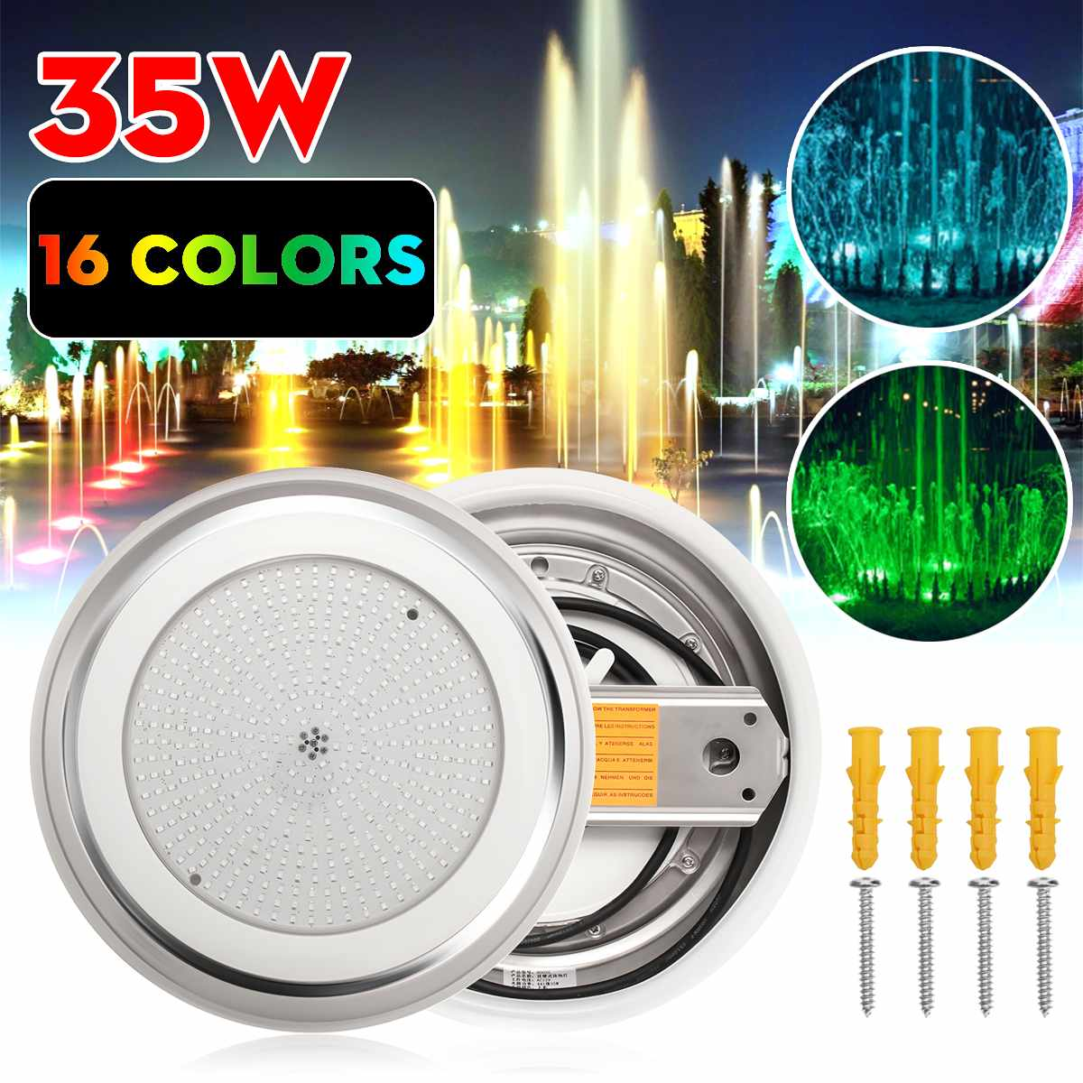 Underwater Lights LED Swimming Pool Lights 16 Colors RGB 12V 45W Wall Mounted Lamp IP68 Multi-Color For Aquarium Ligh