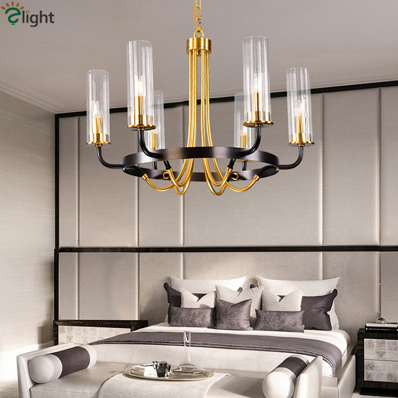 Post Modern Luxury Copper Material Lustre Luminaria E14 Led Chandelier Glass Shades Round Pendant Chandelier Lighting Lamparas|Chandeliers| |  - title=
