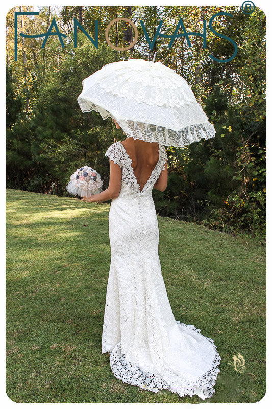 Ivory White Bridal Umbrella Lace Edge Sun Parasol Wedding Handmade Manual Long Handle For In Umbrellas From
