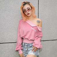 Pink Velvet Short Top Off Shoulder Off Shoulder Sailor Moon Ropa Juvenil Mujer Pastel Clothes Harajuku Sweatshirt 60j096
