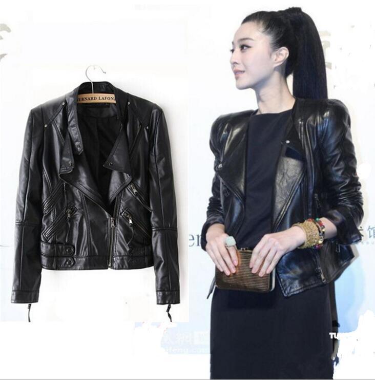 black   leather   jacket 2017 New Spring and Autumn ladies   leather   jacket women motorcycle   leather   jackets women short   leather   coat