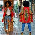 Women Loose Winter Coat Parka Overcoat African Style Print  Long Jacket Outwear Lady Female Autumn Coats