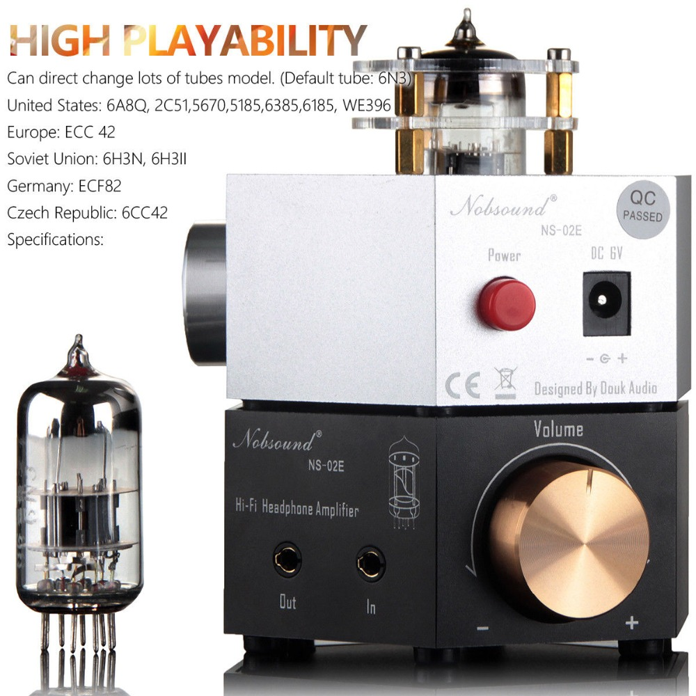 2018 Nobsound Mini 6N3 Vacuum Tube Headphone Amplifier Stereo Earphone Amp Stereo Class A Hi-Fi Preamplifier 6sn7x2 12ax7 hi end class a pure tube headphone amplifier hifi stereo preamplifier silver black