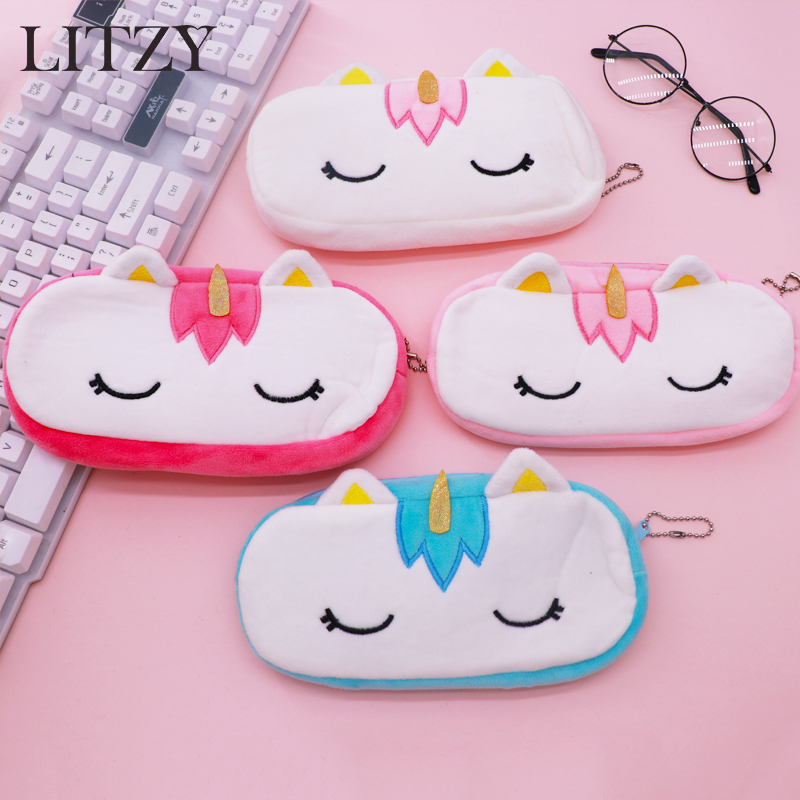 цена Cute Unicorn Pencil Case Plush School Pencil Cases Bag Stationery Pencilcase Kawaii Pencil Case For Girls School Supplies Tool