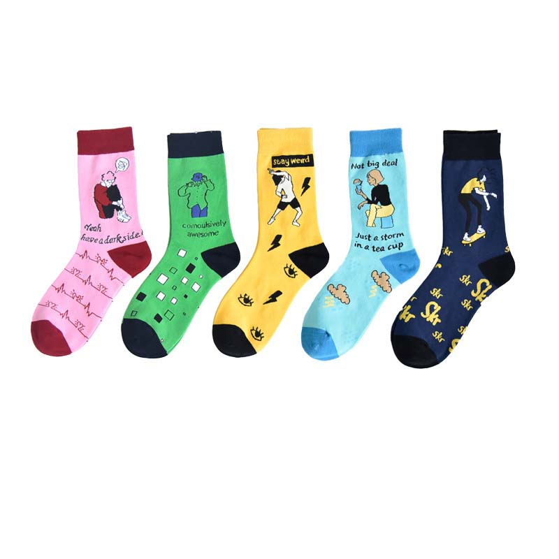 Creative woman socks Korean version of the cartoon fun fun socks illustration cute woman personality trend skateboarding socks 4