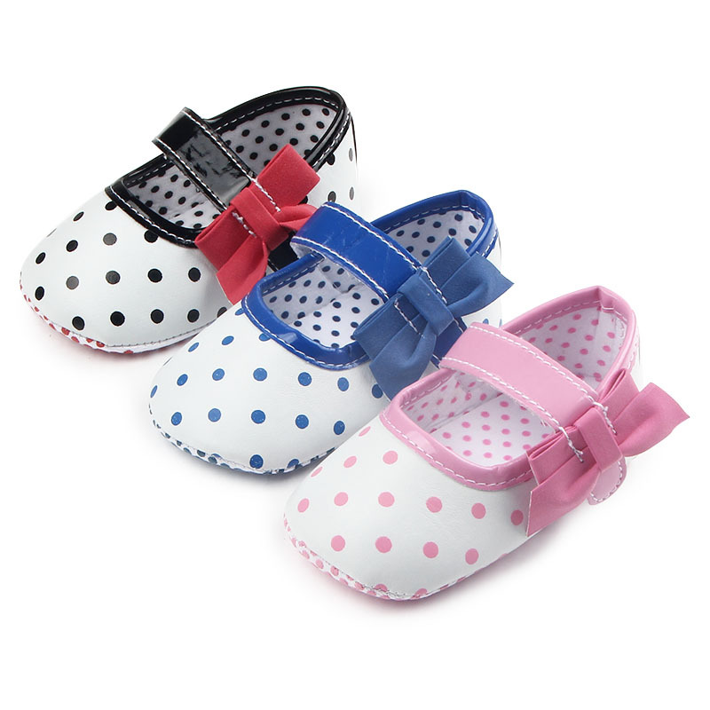Fashion Gift New Baby Polka Dots Bow Shoes Prewalkers First Walkers Footwear Baby Infant Toddler