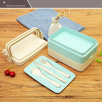 Wheat Straw Healthy Lunch Boxs Food Fruit Storage Container Portable Bento Box Safe Food Picnic Container