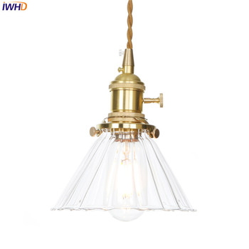 IWHD Nordic Lamp LED Pendant Light Glass Copper Hanging Lamp Vintage Lights Switch Fixtures Home Lighting Suspension Luminaire