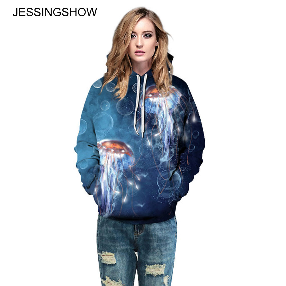 JESSINGSHOW Fashion Harajuku Shiny Jellyfish Printed Hoody Sweatshirt For Women Men 2017 Autumn Winter High Quality Pullover Top