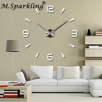 M Sparkling Oversized Living Room Wall Clock 3D Diy Mirror Wall Clocks For Home Decoration
