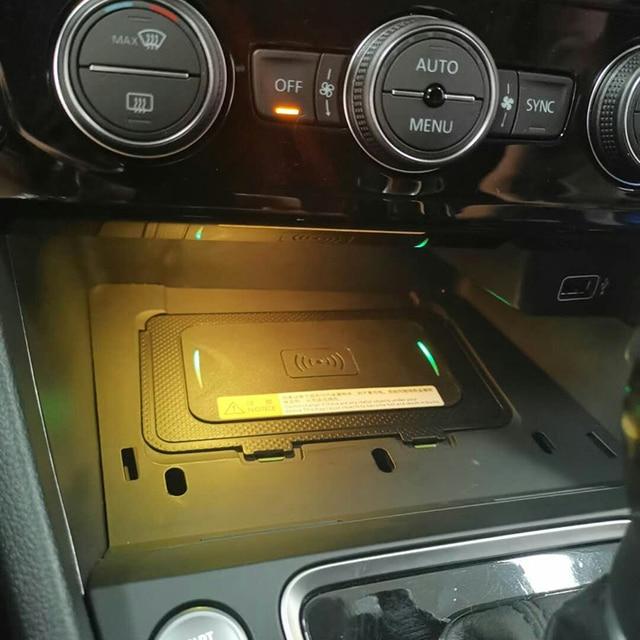 10 вт автомобильное беспроводное зарядное устройство QI, беспроводное зарядное устройство для мобильного телефона, автомобильные аксессуары для VW T roc Teramont Phideon для Jetta 2019
