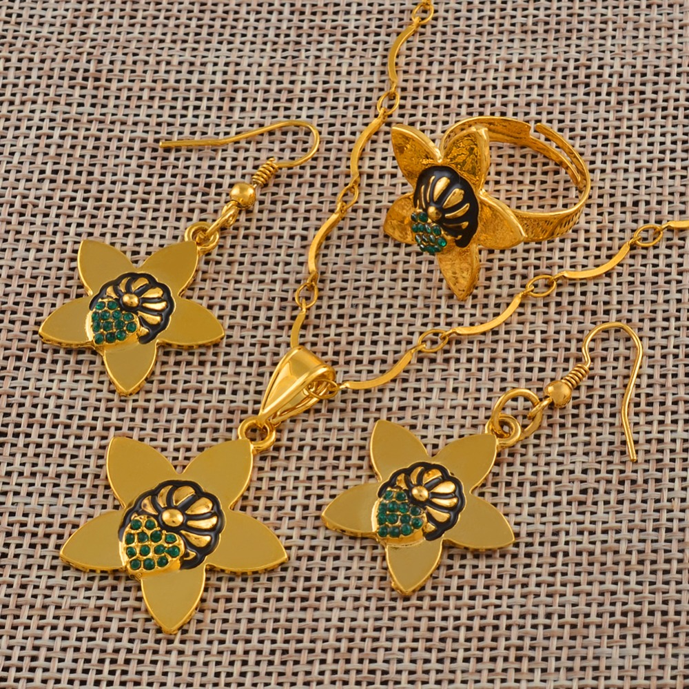 Jewellery Green Stone Papua New Guinea Ethnic Necklace and Earrings Ring sets for Women PNG Style Jewelry Party Gifts #J0081