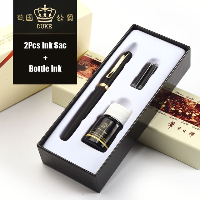 Duke 209 Luxury Black and Gold 0.5mm Fountain Pen with 2Pcs Ink Sac 1Pcs Bottle Ink Metal Steel Pens for Gift Free Shipping