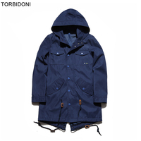 Mens Casual Long Jackets And Coats Personality Design Turn Down Collar Solid Spring Autumn Hooded Outwear