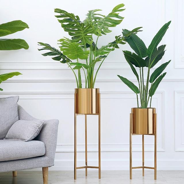 Floor Vase Gold Metal Shelf Vase For Dried Flowers Lobby Home Deco