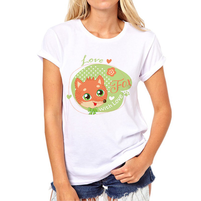 Summer Red Fox T shirt Women Top Casual Animal Tops Cute Fox Print Funny White Cartoon Shirt Femme camisetas N8-2#