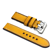 Othelevel Italy Genuine Leather Watch Strap Yellow 20mm 22mm 24mm 4 Colors Watchband Brush Buckle Watch Band #E real italy leather is directly from the italy 20mm black brown genuine leather watchband with original buckle watchstrap