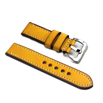 Othelevel Italy Genuine Leather Watch Strap Yellow 20mm 22mm 24mm 4 Colors Watchband Brush Buckle Watch Band #E цена 2017