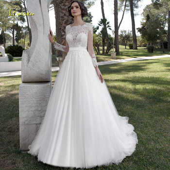 Loverxu Elegant Square Collar A Line Wedding Dresses Appliques Beading Long Sleeve Bride Dress Court Train Bridal Gown Plus Size - DISCOUNT ITEM  25% OFF All Category