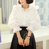 Female Blouse White Shirt Women 2018 Autumn New Fashion Casual Elegant Basic Puff Sleeve Peter Pan