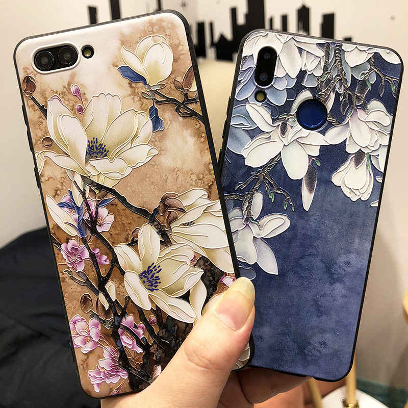 3D Silicone Flower Case for Huawei P10Lite P20 P30 Mate 20 Lite On Honor 20 Pro 8X 10 10i 9 Lite Y5 Y6 Y7 Y9 P Smart Plus 2019
