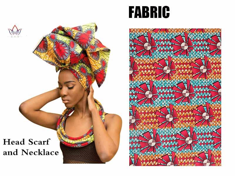 Multi-color African Print Ankara Head wrap Tie Scarf and necklace Hair Accessories Gele  Ipele African Bazin Rich Headwear WYB20 цены онлайн