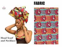 Multi-color African Print Ankara Head wrap Tie Scarf and necklace Hair Accessories Gele Ipele African Bazin Rich Headwear WYB20