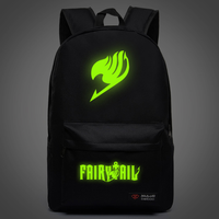Hot Anime Fairy Tail Natsu Backpack Magic Guild Unisex School Bag Backpack Blue Noctilucent Glow Backpack Cosplay Halloween
