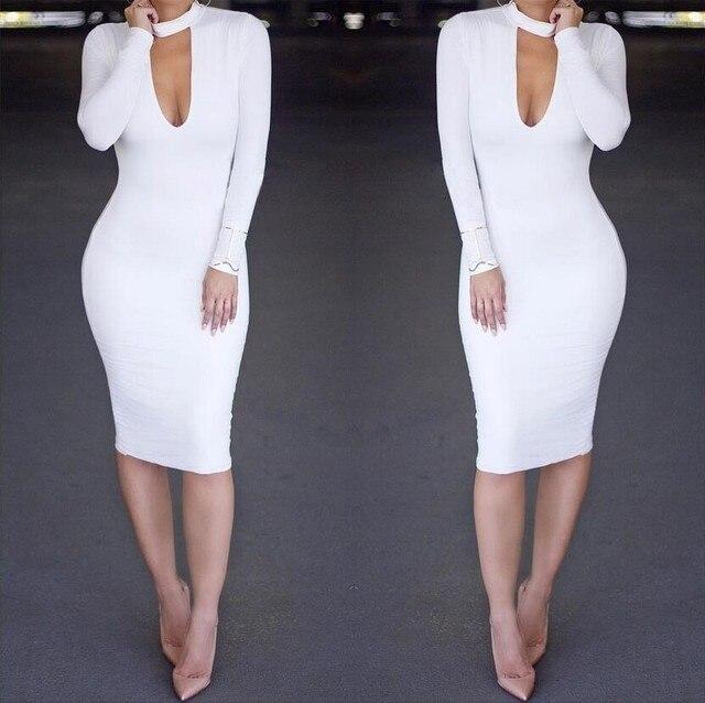 Neue 2017 Frauen Sexy Kleid Knielangen, figurbetontes kleid Weiß ...