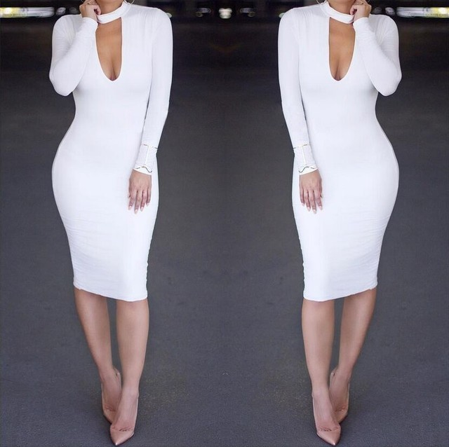 d7ace18bb0b3f New 2017 Women Sexy Dress Knee Length bodycon dress White Deep V Neck  Pencil Dresses Women Long Sleeve Party Dresses vestidos
